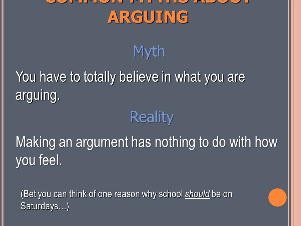 COMMON MYTHS ABOUT ARGUING Myth An argument is just people yelling at each other. Reality Arguments can be very calm. An argument in writing is silent