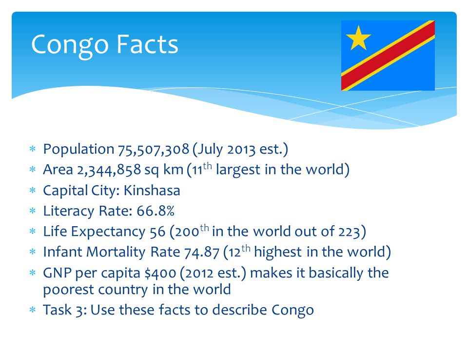 Congo Facts  Population 75,507,308 (July 2013 est.)  Area 2,344,858 sq km (11 th largest in the world)  Capital City: Kinshasa  Literacy Rate: 66.8%  Life Expectancy 56 (200 th in the world out of 223)  Infant Mortality Rate 74.87 (12 th highest in the world)  GNP per capita $400 (2012 est.) makes it basically the poorest country in the world  Task 3: Use these facts to describe Congo