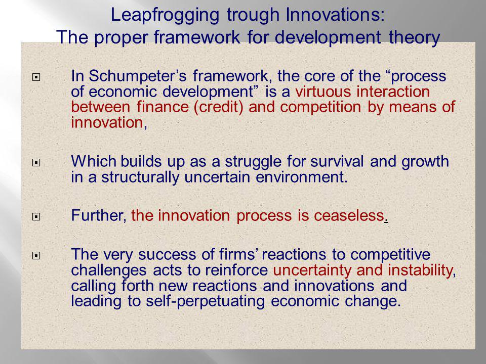  In Schumpeter's framework, the core of the process of economic development is a virtuous interaction between finance (credit) and competition by means of innovation,  Which builds up as a struggle for survival and growth in a structurally uncertain environment.