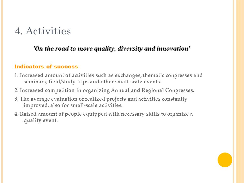 4. Activities On the road to more quality, diversity and innovation Indicators of success 1.
