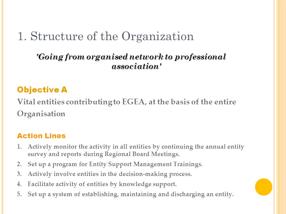 1. Structure of the Organization 'Going from organised network to professional association' Objective A Vital entities contributing to EGEA, at the ba