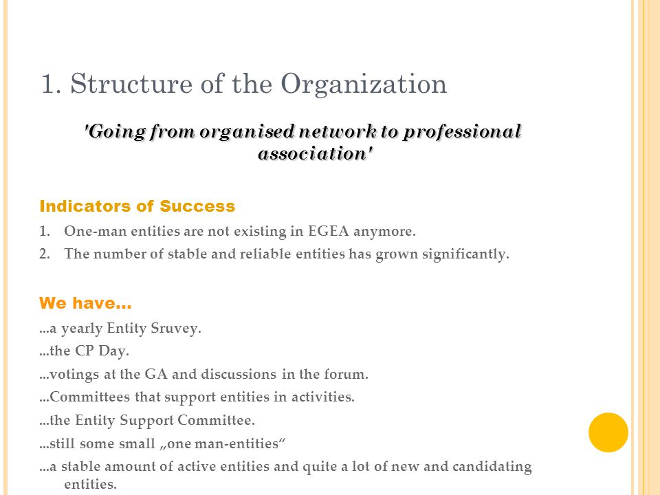 1. Structure of the Organization 'Going from organised network to professional association' Indicators of Success 1.One-man entities are not existing