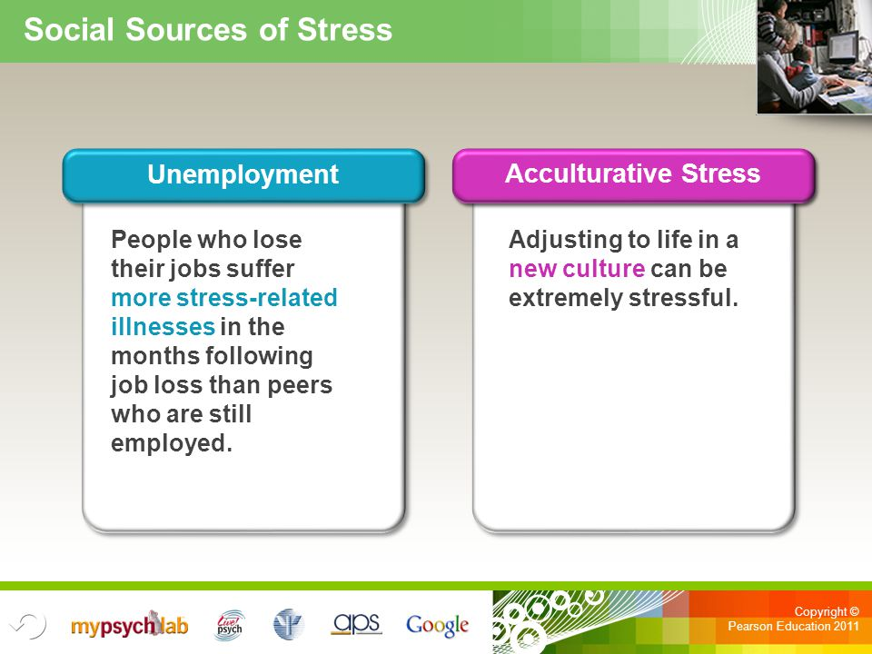 Copyright © Pearson Education 2011 Adjusting to life in a new culture can be extremely stressful. People who lose their jobs suffer more stress-relate