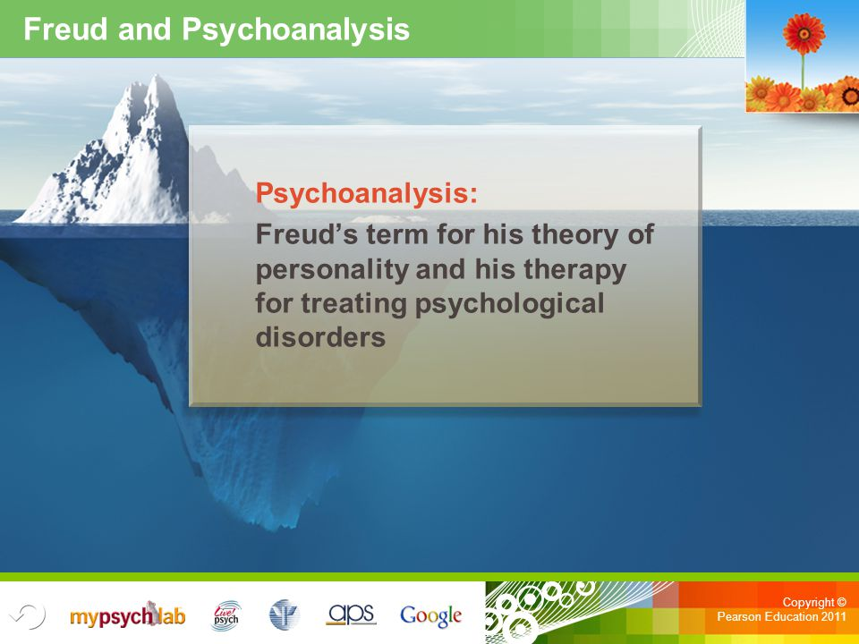 Copyright © Pearson Education 2011 Freud and Psychoanalysis Psychoanalysis: Freud's term for his theory of personality and his therapy for treating ps