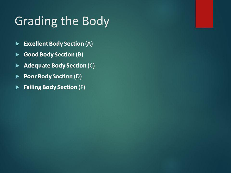 Grading the Body  Excellent Body Section (A)  Good Body Section (B)  Adequate Body Section (C)  Poor Body Section (D)  Failing Body Section (F)