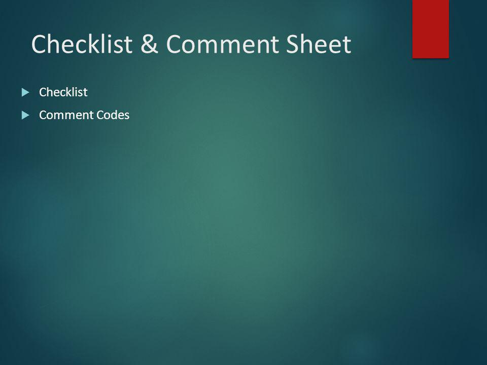Checklist & Comment Sheet  Checklist  Comment Codes
