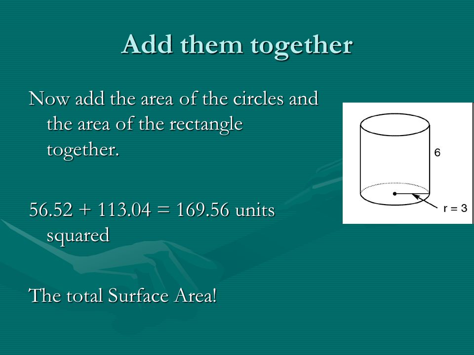 Add them together Now add the area of the circles and the area of the rectangle together. 56.52 + 113.04 = 169.56 units squared The total Surface Area