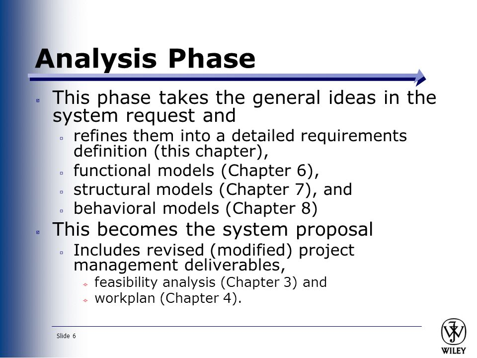 Slide 7 Requirement Specification a statement of what the system must do or characteristics it must have Written from businessperson perspective ( what of system) Later requirements become more technical ( how of system)