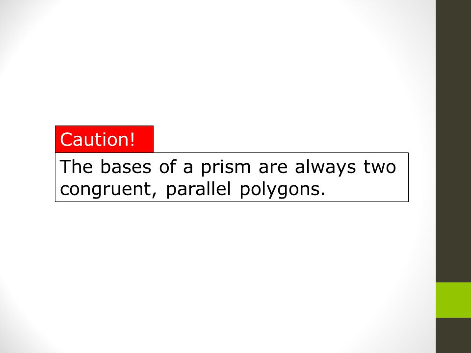 The bases of a prism are always two congruent, parallel polygons. Caution!