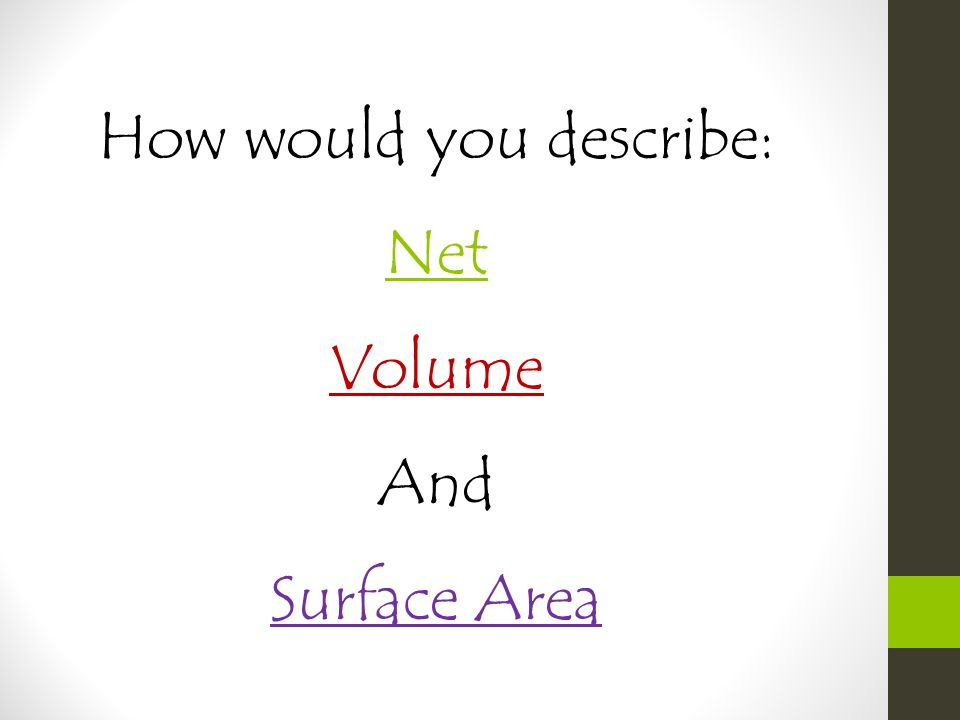 Part 1: Surface Area 1.Using a Net 2.Using a Formula