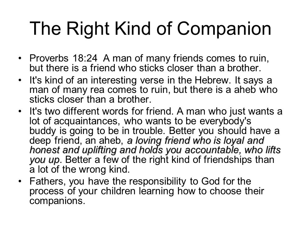The Right Kind of Companion Proverbs 18:24 A man of many friends comes to ruin, but there is a friend who sticks closer than a brother.