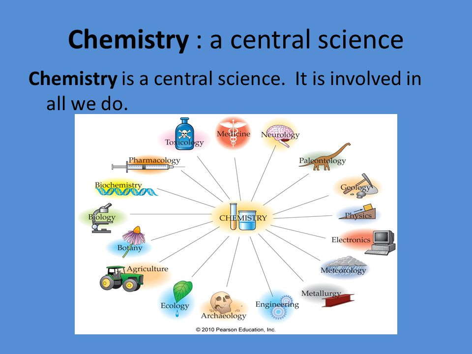 Chemistry : a central science Chemistry is a central science. It is involved in all we do.