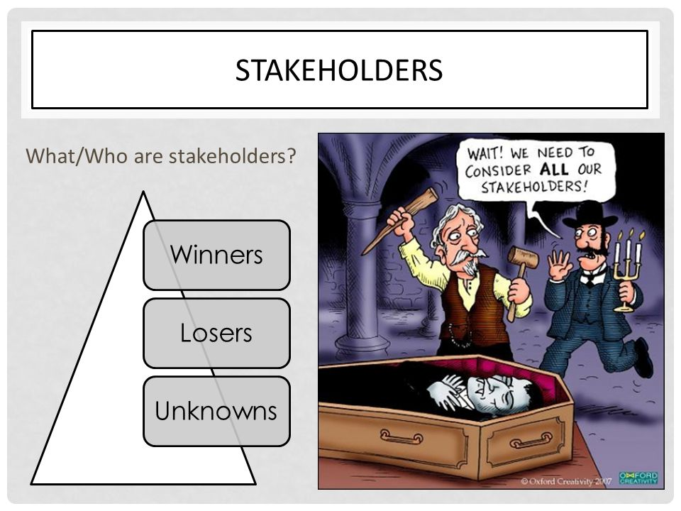 STAKEHOLDERS What/Who are stakeholders? WinnersLosersUnknowns