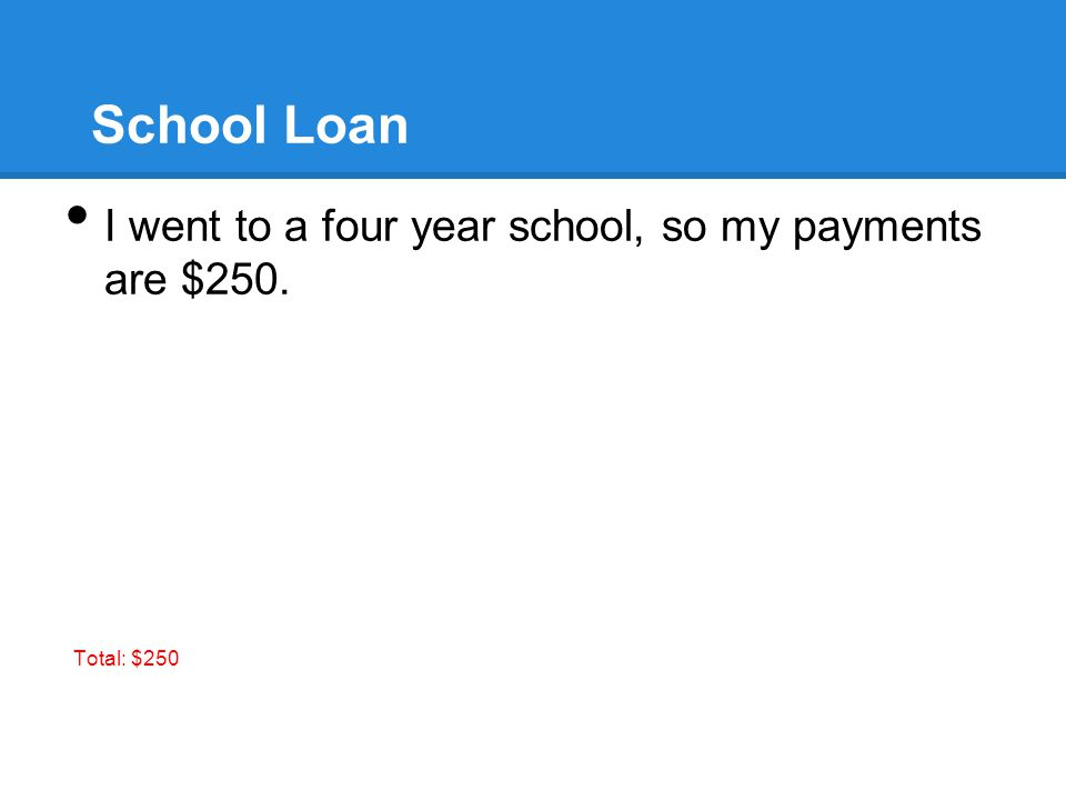 School Loan I went to a four year school, so my payments are $250. Total: $250