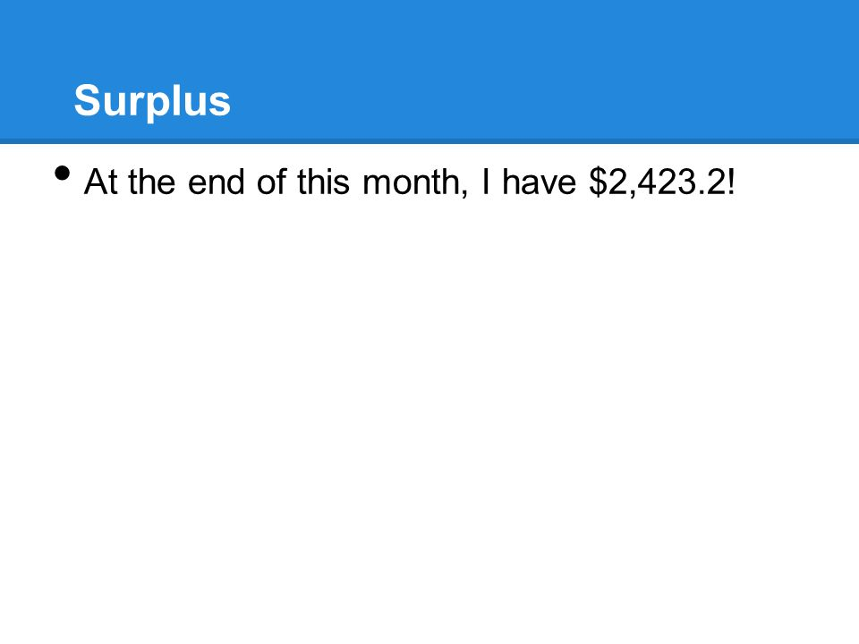 Surplus At the end of this month, I have $2,423.2!