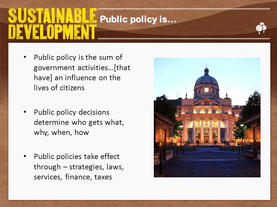 Characteristics of public policy Public policy involves government Public policy involves decisions to act (& not to act) Public policy entails the commitment of resources Public policy has a normative dimension – Vision of the way things should be – Influence of values