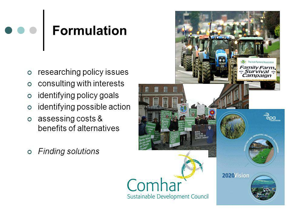 Formulation researching policy issues consulting with interests identifying policy goals identifying possible action assessing costs & benefits of alt