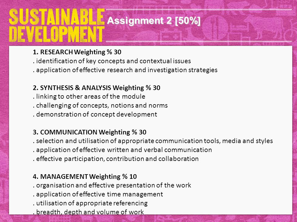 Assignment 2 [50%] 1. RESEARCH Weighting % 30.