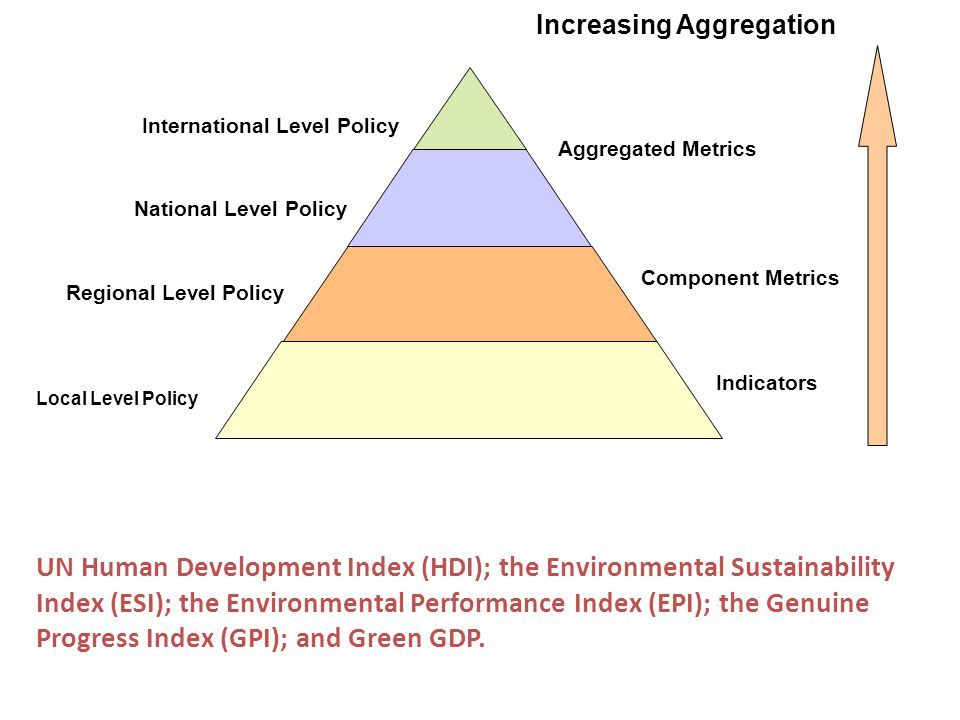 International Level Policy Regional Level Policy Local Level Policy National Level Policy Aggregated Metrics Component Metrics Indicators Increasing Aggregation UN Human Development Index (HDI); the Environmental Sustainability Index (ESI); the Environmental Performance Index (EPI); the Genuine Progress Index (GPI); and Green GDP.