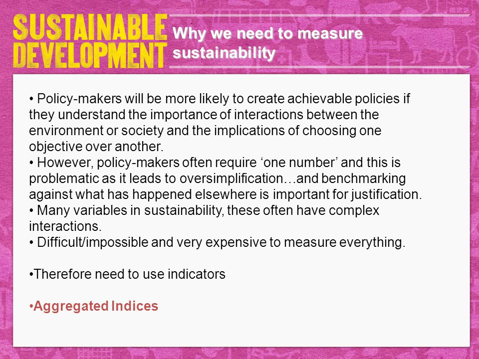 Why we need to measure sustainability Policy-makers will be more likely to create achievable policies if they understand the importance of interactions between the environment or society and the implications of choosing one objective over another.