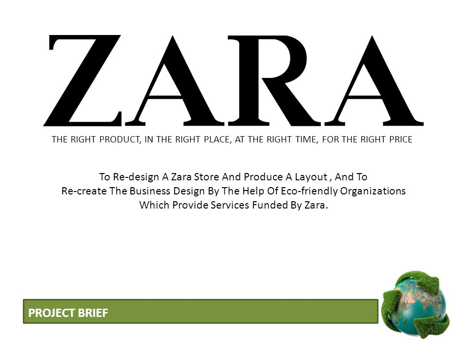 PROJECT BRIEF To Re-design A Zara Store And Produce A Layout, And To Re-create The Business Design By The Help Of Eco-friendly Organizations Which Pro