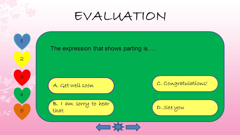 EVALUATION A. Congratulating D. Sympathy C.