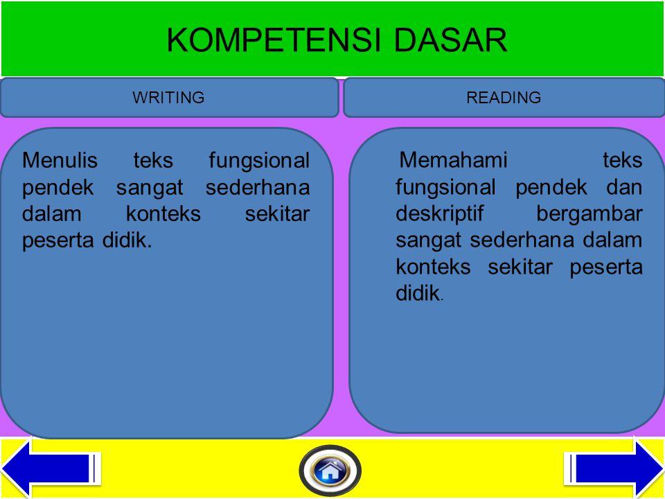 STANDAR KOMPETENSI WRITINGREADING 1.Memahami teks fungsional bergamabr sangat sederhana dalam dalam konteks kehidupan sehari hari.