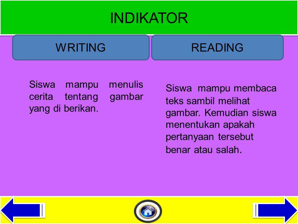 KOMPETENSI DASAR WRITINGREADING Menulis teks fungsional pendek sangat sederhana dalam konteks sekitar peserta didik.