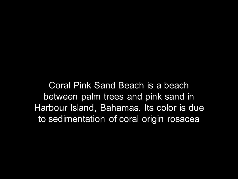Coral Pink Sand Beach is a beach between palm trees and pink sand in Harbour Island, Bahamas.