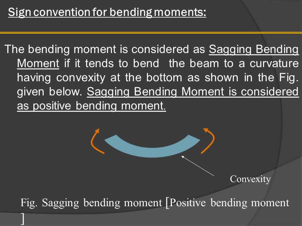 Sign convention for bending moments: Similarly the bending moment is considered as hogging bending moment if it tends to bend the beam to a curvature having convexity at the top as shown in the Fig.