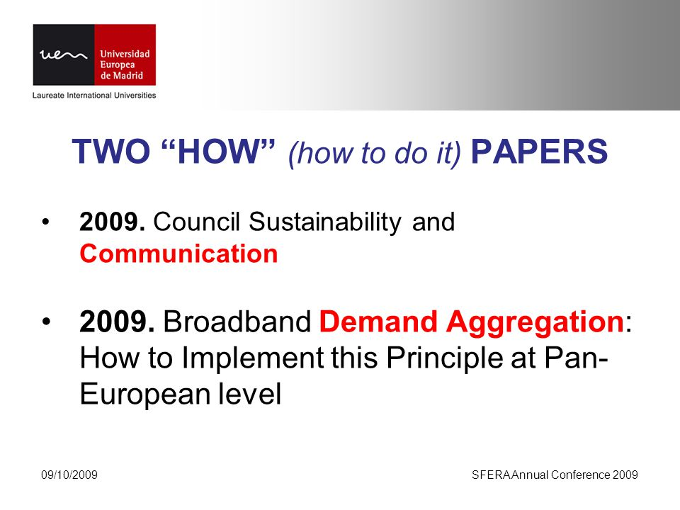 TWO HOW (how to do it) PAPERS Council Sustainability and Communication