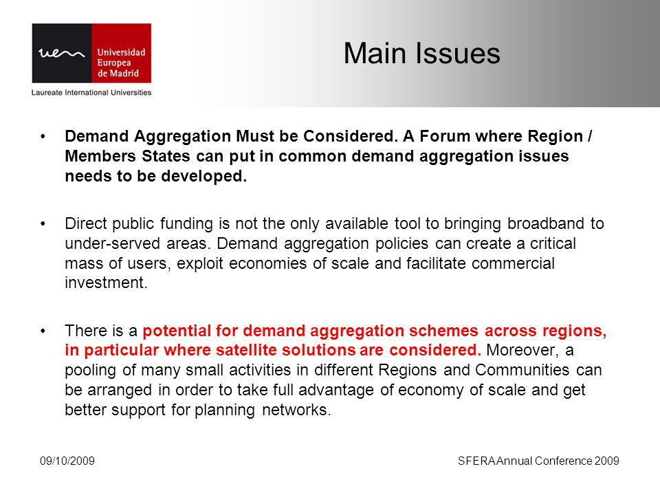 Main Issues Demand Aggregation Must be Considered.