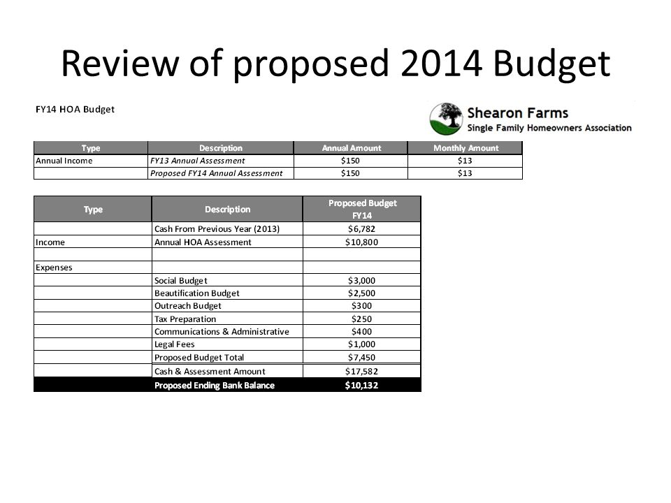 Review of proposed 2014 Budget