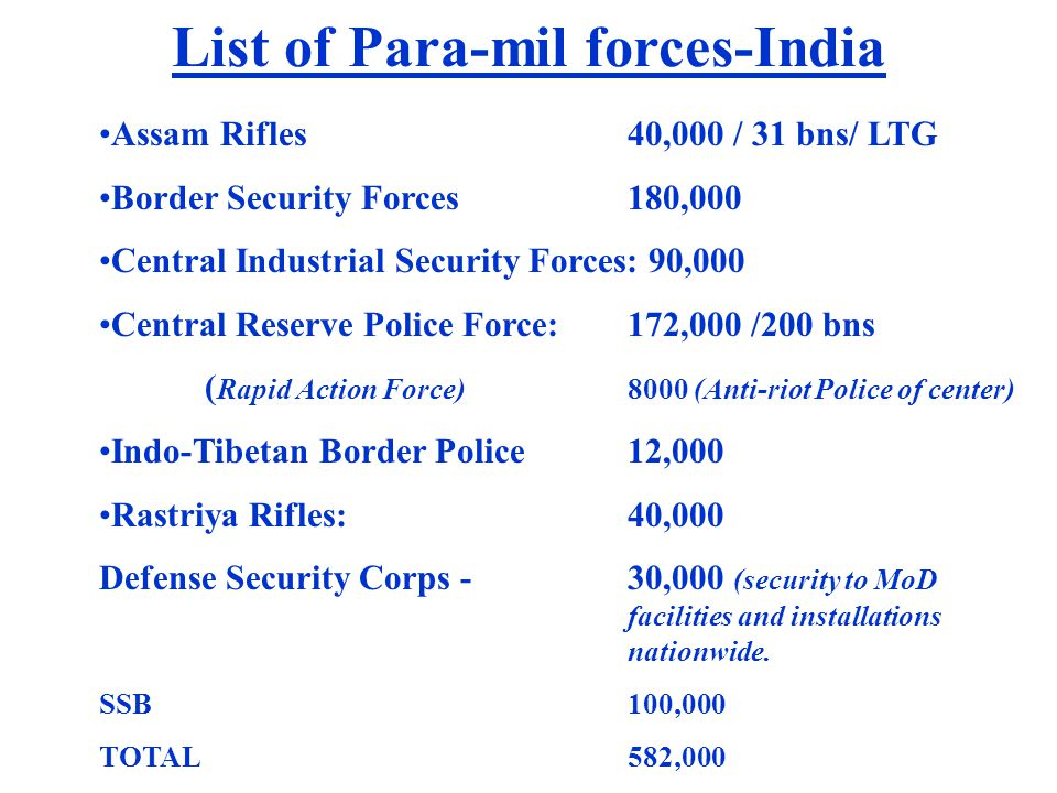 List of Para-mil forces-India Assam Rifles 40,000 / 31 bns/ LTG Border Security Forces 180,000 Central Industrial Security Forces: 90,000 Central Rese