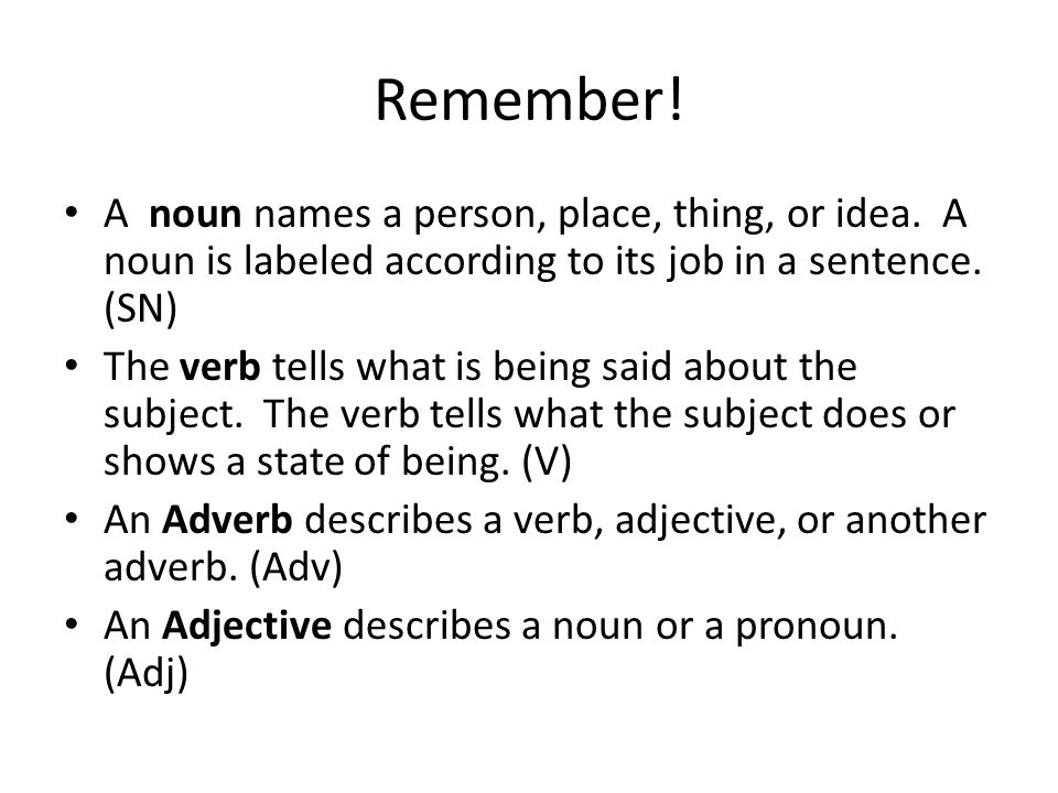 Remember. A noun names a person, place, thing, or idea.