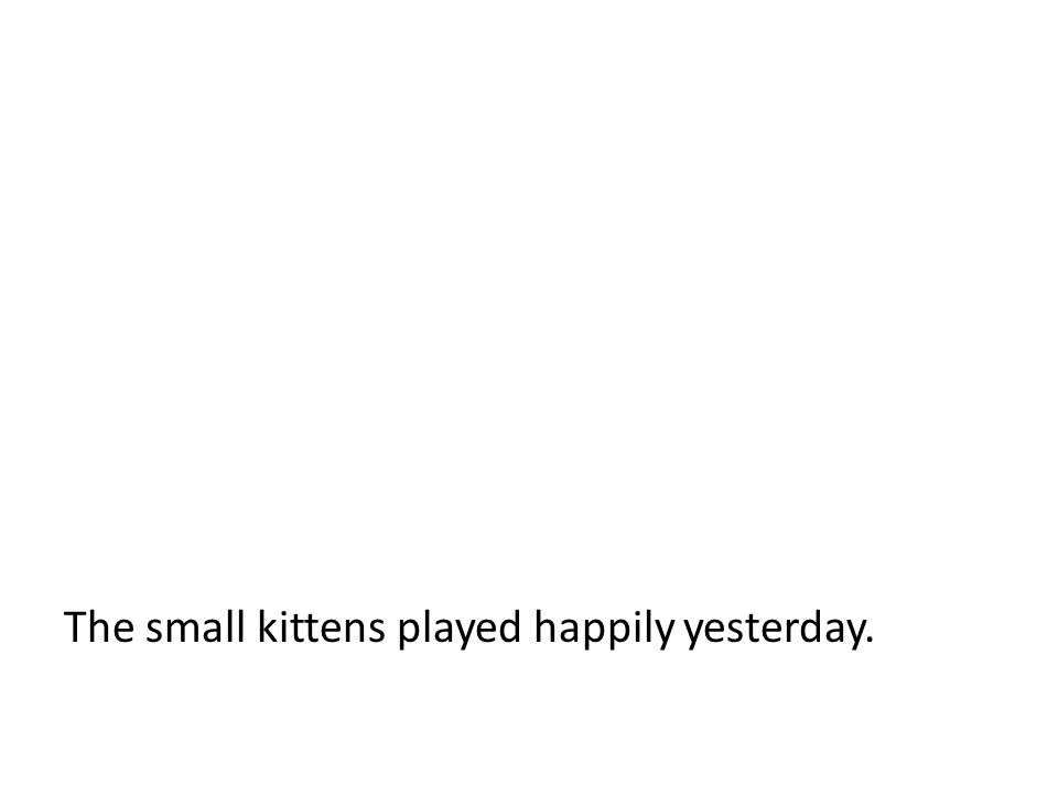 The small kittens played happily yesterday.