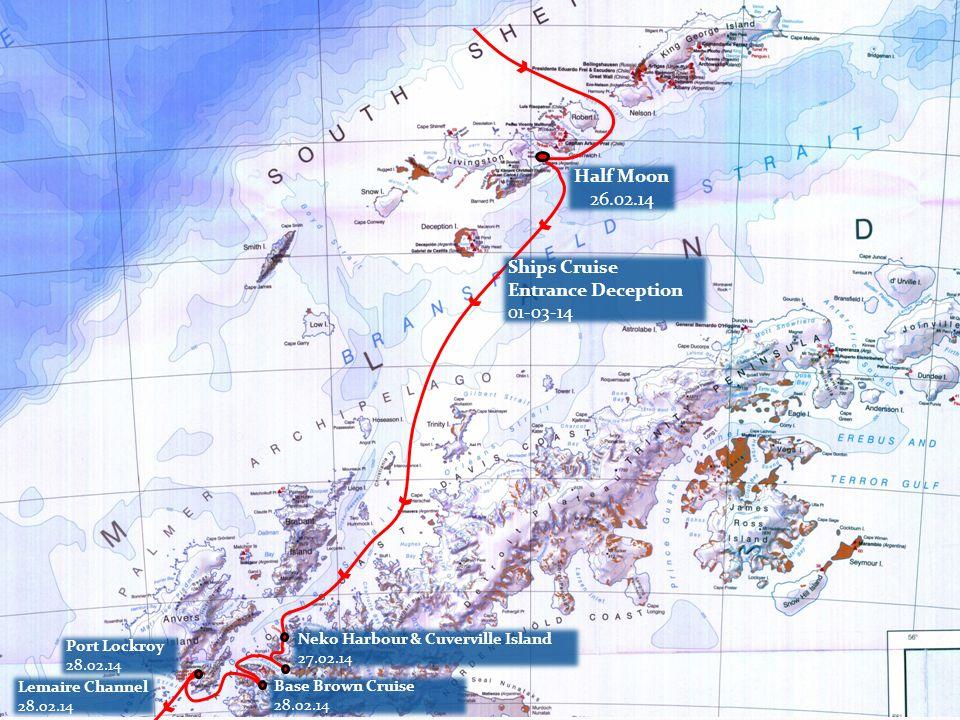Port Lockroy 28.02.14 cancelled Lemaire Channel 28.02.14 Base Brown 28.02.14 Neko Harbour 27.02.14 Cuverville 27.02.14
