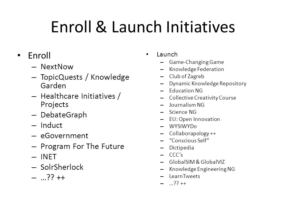 Enroll & Launch Initiatives Enroll – NextNow – TopicQuests / Knowledge Garden – Healthcare Initiatives / Projects – DebateGraph – Induct – eGovernment – Program For The Future – INET – SolrSherlock – … .