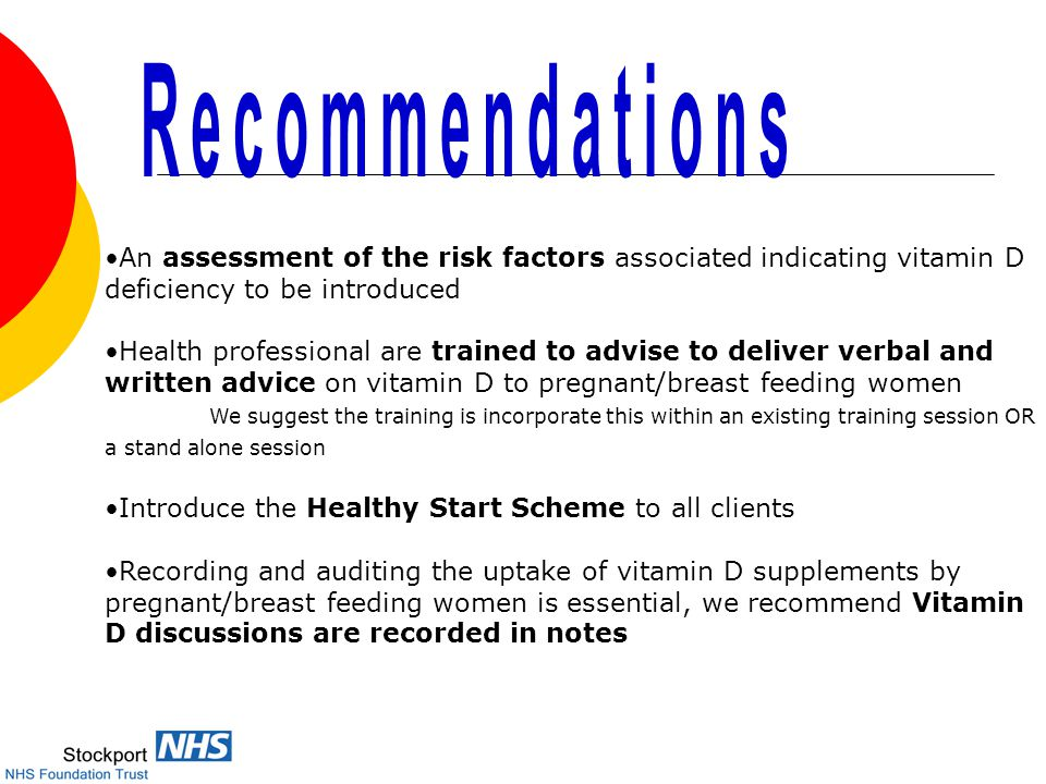 An assessment of the risk factors associated indicating vitamin D deficiency to be introduced Health professional are trained to advise to deliver verbal and written advice on vitamin D to pregnant/breast feeding women We suggest the training is incorporate this within an existing training session OR a stand alone session Introduce the Healthy Start Scheme to all clients Recording and auditing the uptake of vitamin D supplements by pregnant/breast feeding women is essential, we recommend Vitamin D discussions are recorded in notes