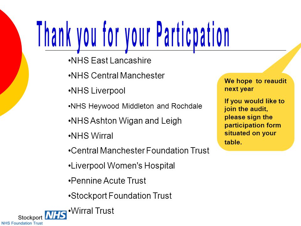 Central Manchester Foundation Trust Liverpool Women s Hospital Pennine Acute Trust Stockport Foundation Trust Wirral Trust NHS East Lancashire NHS Central Manchester NHS Liverpool NHS Heywood Middleton and Rochdale NHS Ashton Wigan and Leigh NHS Wirral We hope to reaudit next year If you would like to join the audit, please sign the participation form situated on your table.