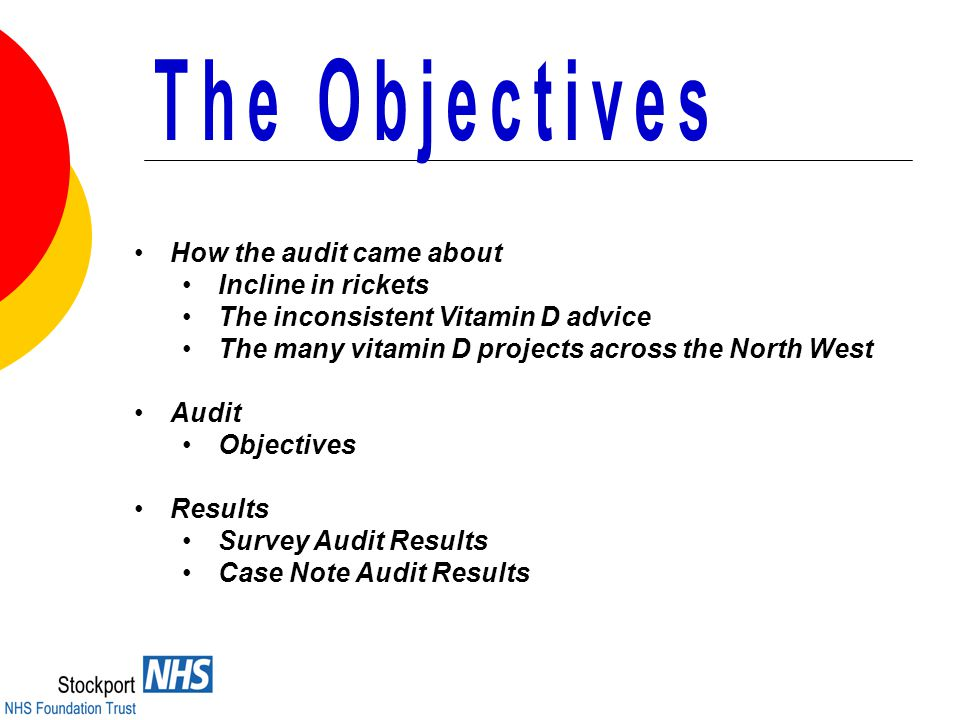 How the audit came about Incline in rickets The inconsistent Vitamin D advice The many vitamin D projects across the North West Audit Objectives Results Survey Audit Results Case Note Audit Results