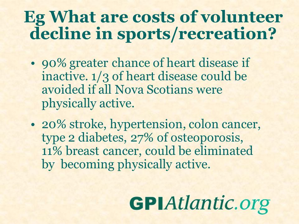 Eg What are costs of volunteer decline in sports/recreation.