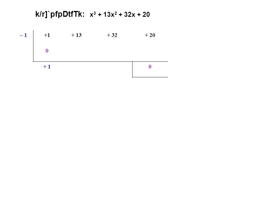 k/r]`pfpDtfTk: x 3 + 13x 2 + 32x + 20 – 1+1+ 13+ 32+ 20 0– 1– 12– 20 (x + 1) oR k/r]` + 1+ 12+ 200 x2x2 + 12x+ 20 <p.p.