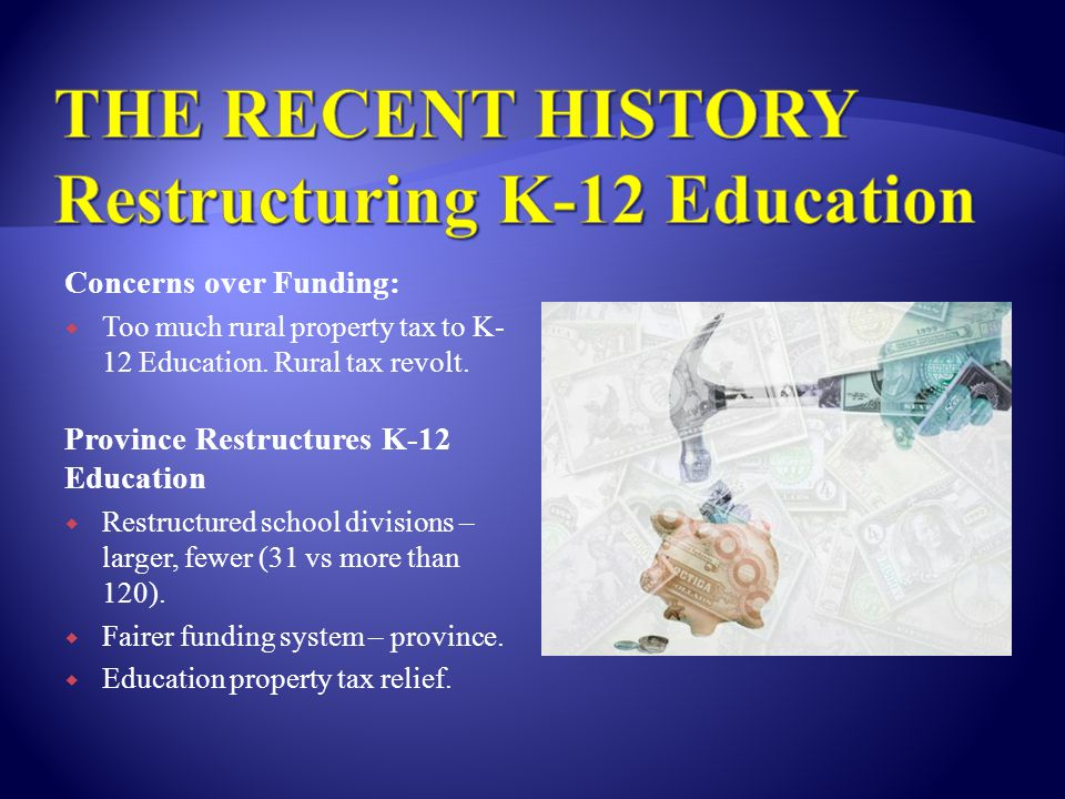 Concerns over Funding:  Too much rural property tax to K- 12 Education.