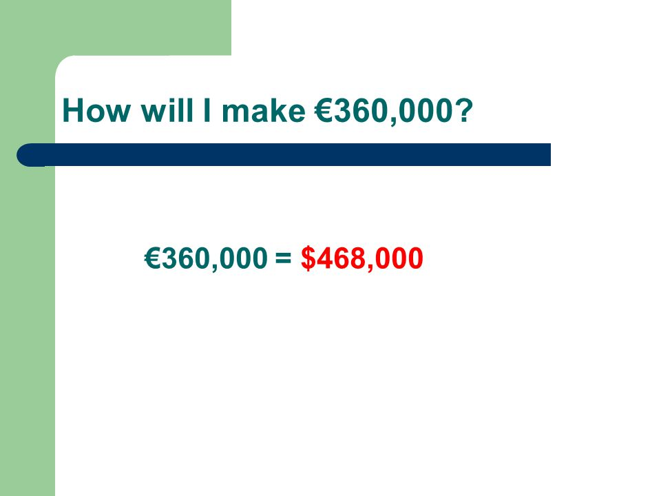 How will I make €360,000? €360,000 = $468,000