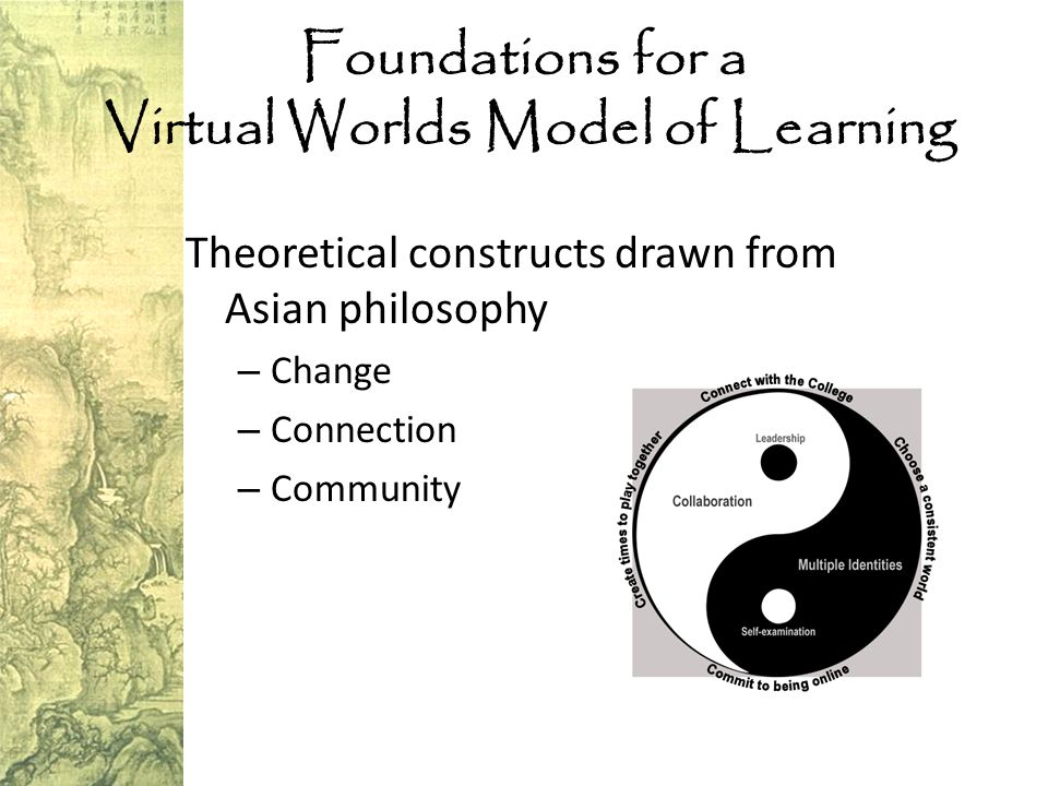 Foundations for a Virtual Worlds Model of Learning Theoretical constructs drawn from Asian philosophy – Change – Connection – Community