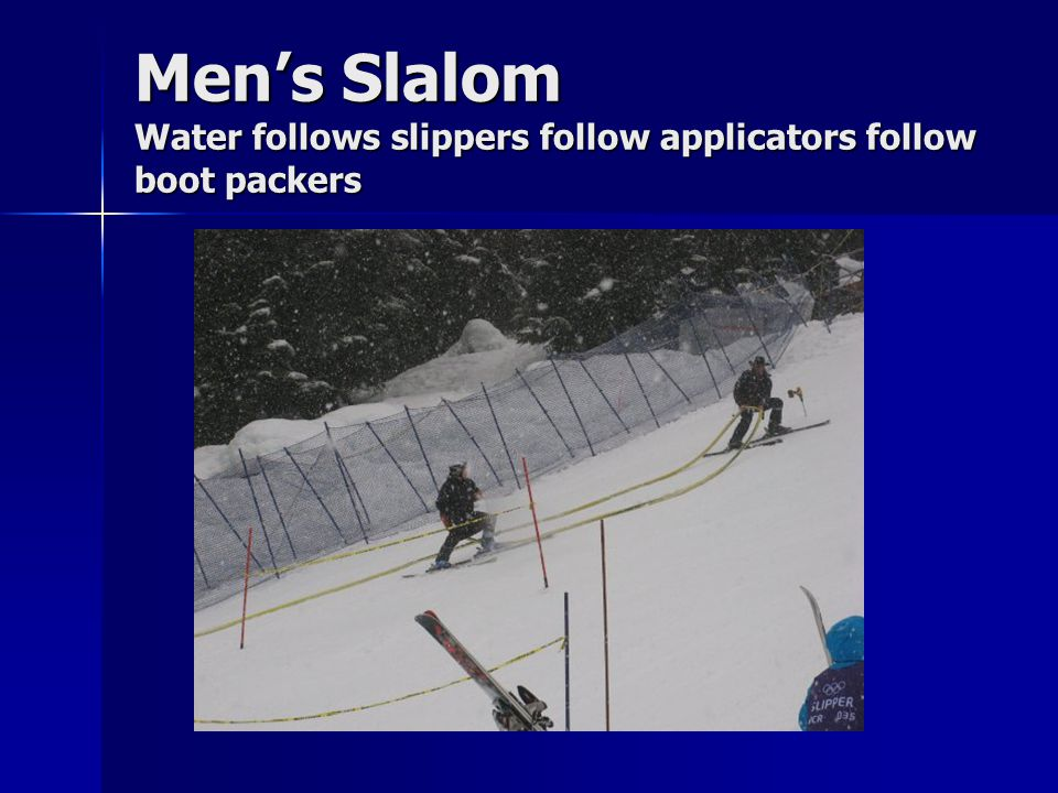 Men's Slalom Water follows slippers follow applicators follow boot packers