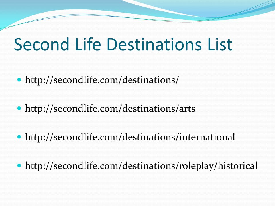 Second Life Destinations List