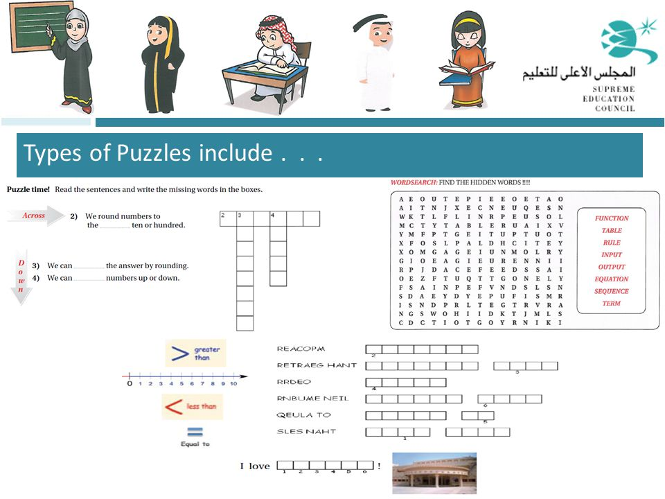 Types of Puzzles include...