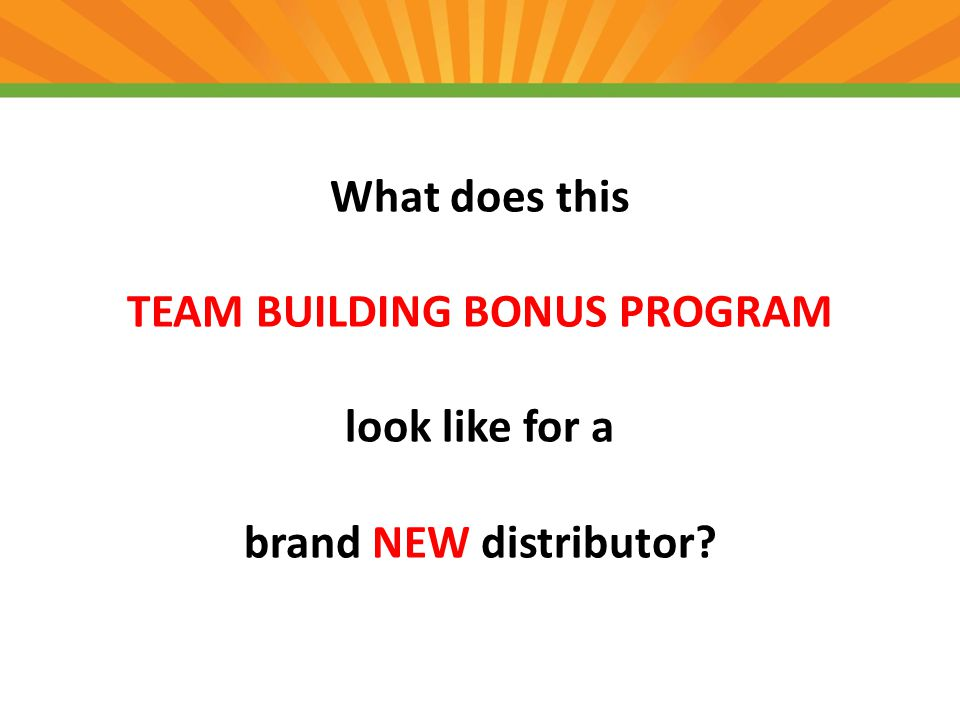 What does this TEAM BUILDING BONUS PROGRAM look like for a brand NEW distributor